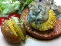 Hawaiian Ham Steak with Patio Mushroom Sauce