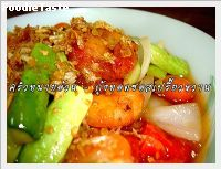 ��駷ʹ�����������ҹ (Deep fried prawn with sweet and sour sauce)