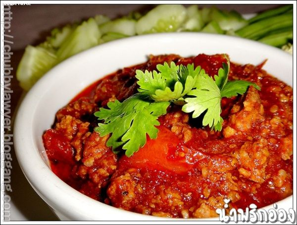 น้ำพริกอ่อง (Nam prik Onk: Minced pork and tomatoes chili dip)